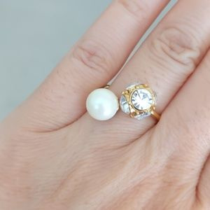Kate Spade Pearl Clear Stone Ring Adjustable Size